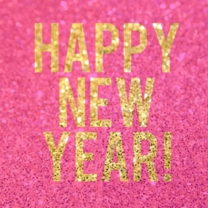 happy new year pink and gold